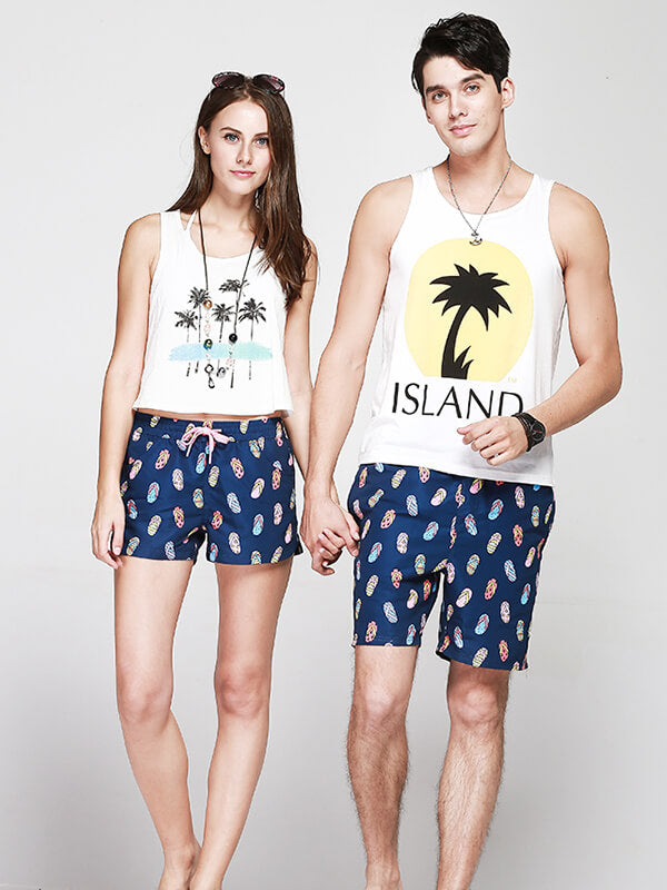 Couple's Flip Flops Beach Shorts