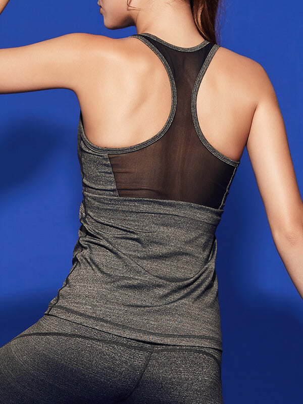 LikeBunny See Through Mesh-Mix Racerback Sports Tank Grey