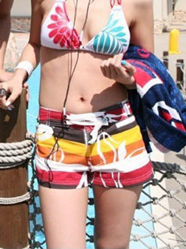 Hawaii Colorful Stripes Tropical Flowers Pattern Couple's Beach Shorts Women