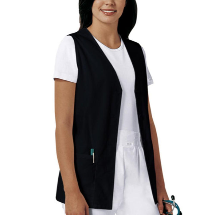 Cherokee Workwear Professionals 1602 Vests Women's Button Front Black