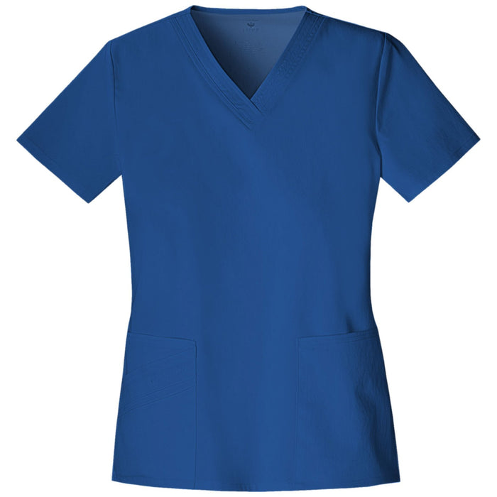 Cherokee Luxe 1845 Scrubs Top Women's V-Neck Royal