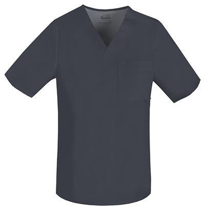 Cherokee Luxe 1929 Scrubs Top Men's V-Neck Pewter
