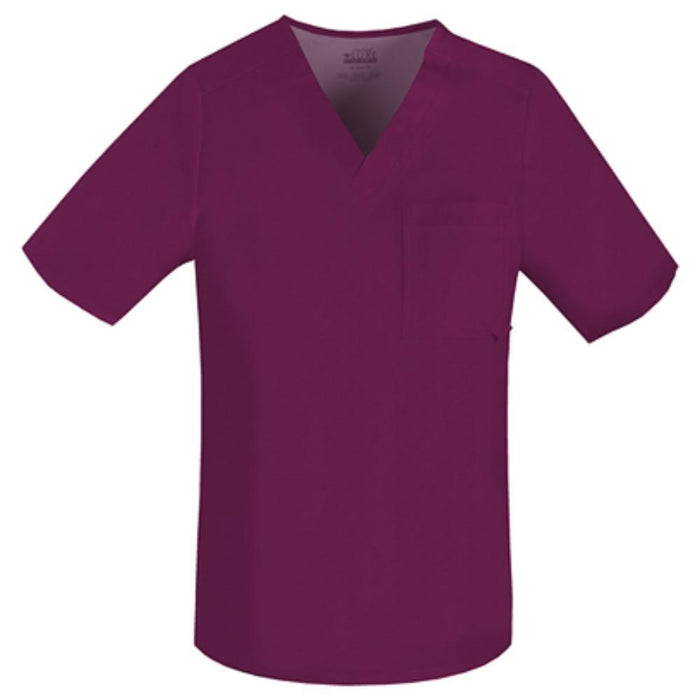 Cherokee Luxe 1929 Scrubs Top Men's V-Neck Wine