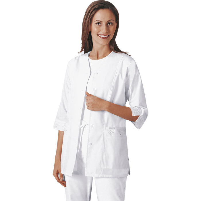 Cherokee Workwear Professionals 1949 Lab Coat Women's 3/4 Sleeve Embroidered White