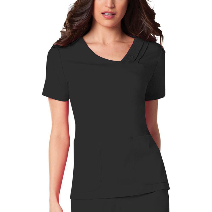 Cherokee Luxe 1999 Scrubs Top Women's Crossover V-Neck Pin-Tuck Black