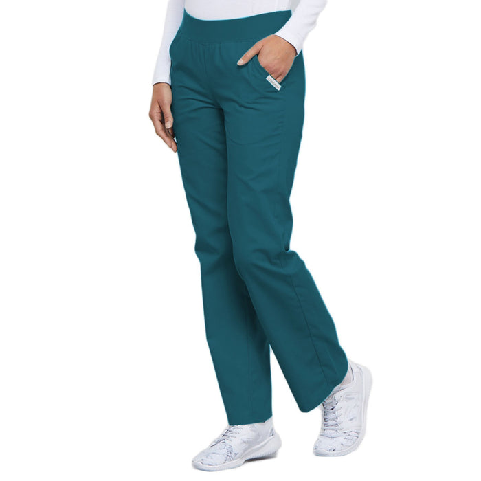 Cherokee Flexibles 2085 Scrubs Pants Women's Mid Rise Knit Waist Pull-On Caribbean Blue 4XL
