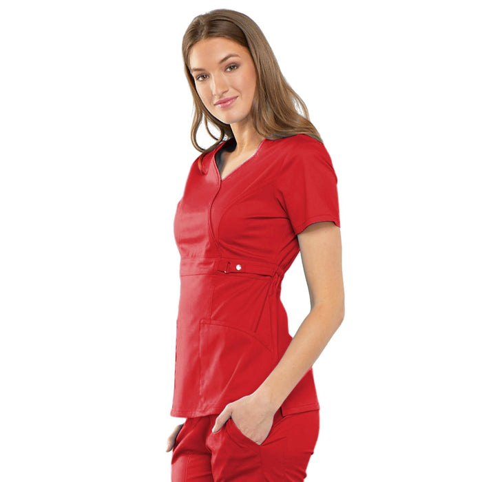Cherokee Luxe 21701 Scrubs Top Women's Empire Waist Mock Wrap Red
