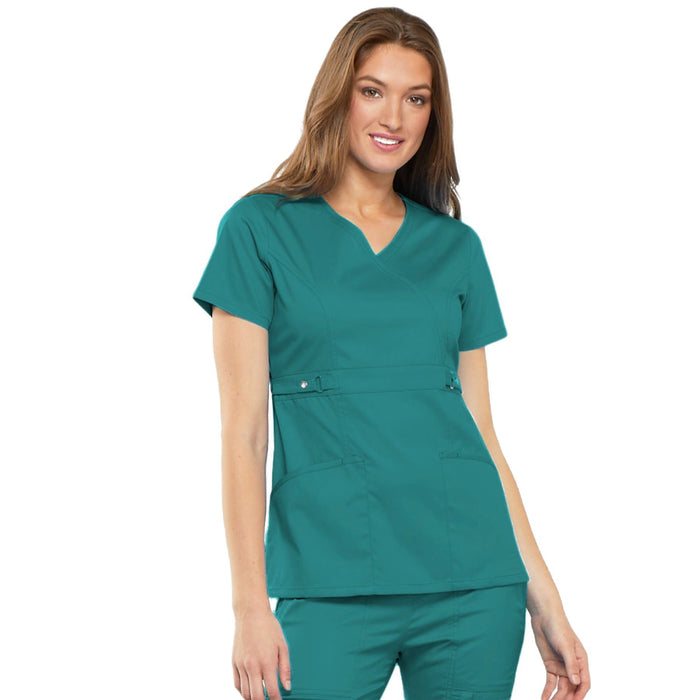 Cherokee Luxe 21701 Scrubs Top Women's Empire Waist Mock Wrap Teal Blue