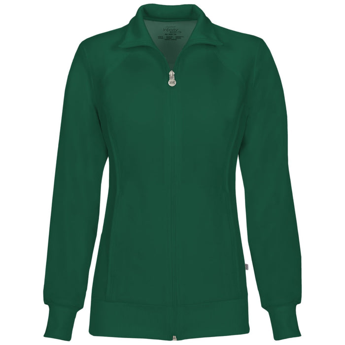 Cherokee Infinity 2391A Scrubs Jacket Women's Zip Front Warm-Up Hunter Green