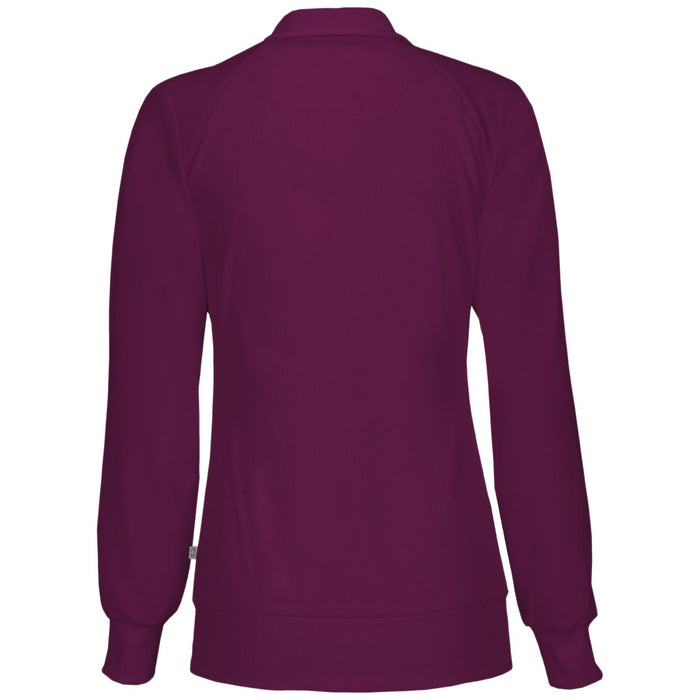 Cherokee Infinity 2391A Scrubs Jacket Women's Zip Front Warm-Up Wine