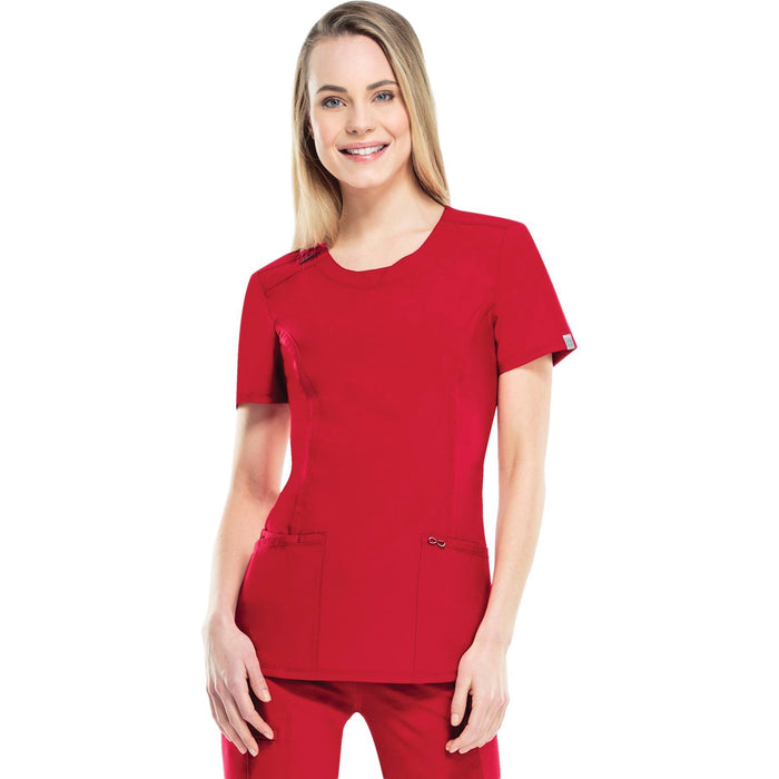 Cherokee Infinity 2624A Scrubs Top Women's Round Neck Red