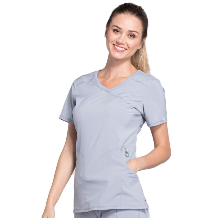 Cherokee Infinity 2625A Scrubs Top Women's Mock Wrap Grey 4XL