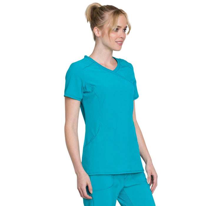 Cherokee Infinity 2625A Scrubs Top Women's Mock Wrap Teal Blue 5XL
