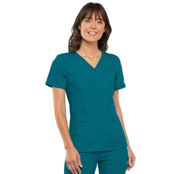 Cherokee Flexibles 2968 Scrubs Top Women's V-Neck Knit Panel Caribbean Blue