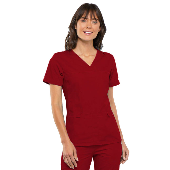 Cherokee Flexibles 2968 Scrubs Top Women's V-Neck Knit Panel Red