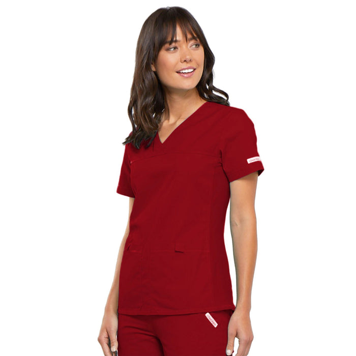 Cherokee Flexibles 2968 Scrubs Top Women's V-Neck Knit Panel Red 3XL