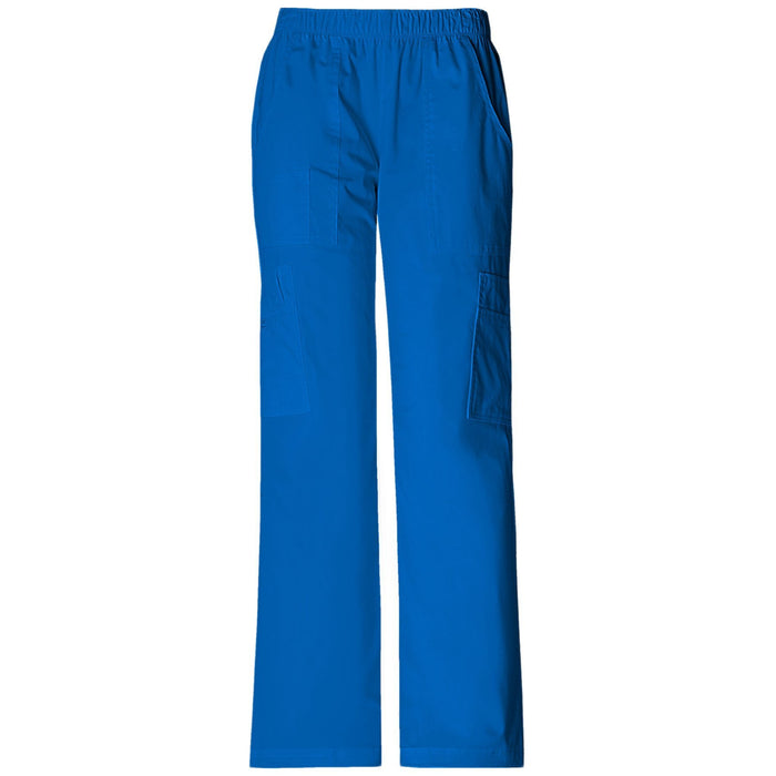 Cherokee Workwear Core Stretch 4005 Scrubs Pants Women's Mid Rise Pull-On Cargo Royal