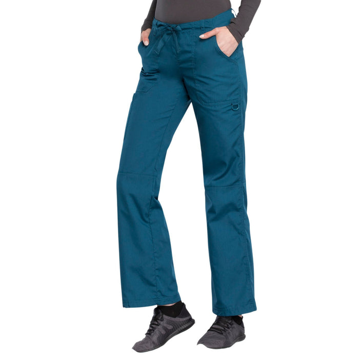Cherokee Workwear 4020 Scrubs Pants Women's Low Rise Drawstring Cargo Caribbean Blue M