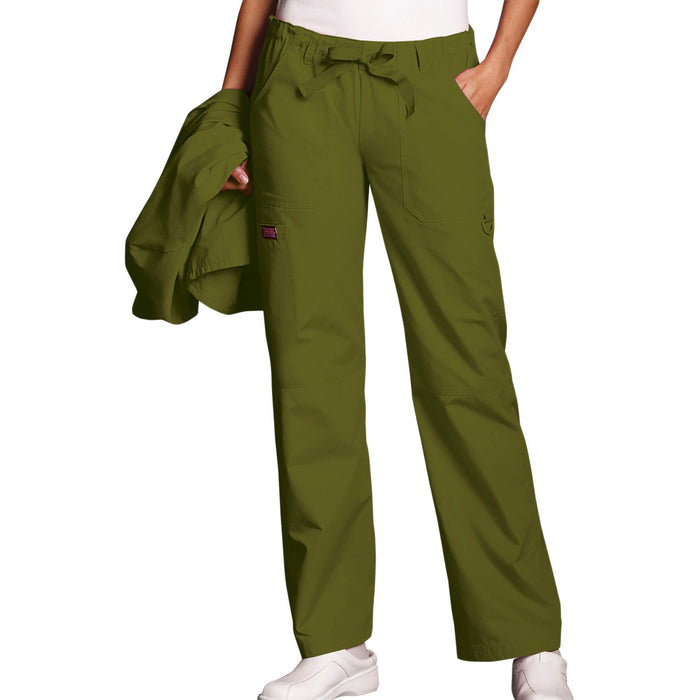 Cherokee Workwear 4020 Scrubs Pants Women's Low Rise Drawstring Cargo Olive
