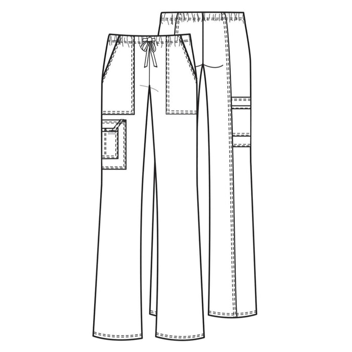 Cherokee Workwear Core Stretch 4044 Scrubs Pants Women's Mid Rise Drawstring Cargo Grey 3XL