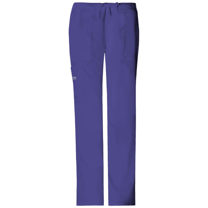 Cherokee Workwear Core Stretch 4044 Scrubs Pants Women's Mid Rise Drawstring Cargo Grape