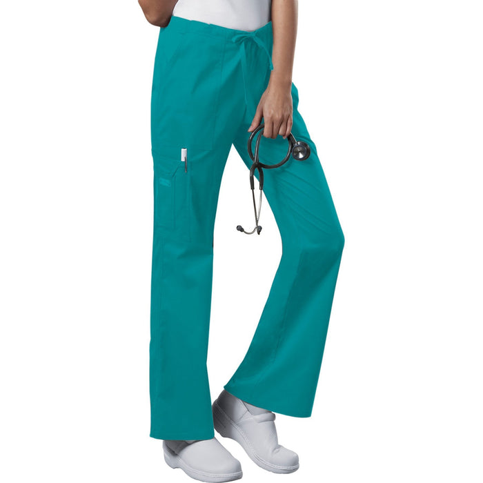 Cherokee Workwear Core Stretch 4044 Scrubs Pants Women's Mid Rise Drawstring Cargo Teal Blue