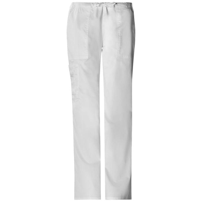 Cherokee Workwear Core Stretch 4044 Scrubs Pants Women's Mid Rise Drawstring Cargo White