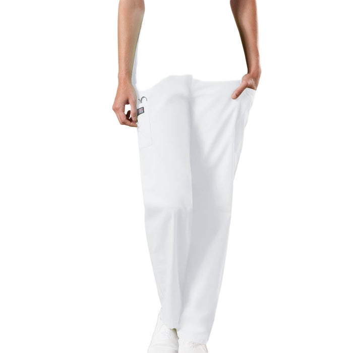 Cherokee Workwear 4200 Scrubs Pants Women's Natural Rise Tapered Pull-On Cargo White