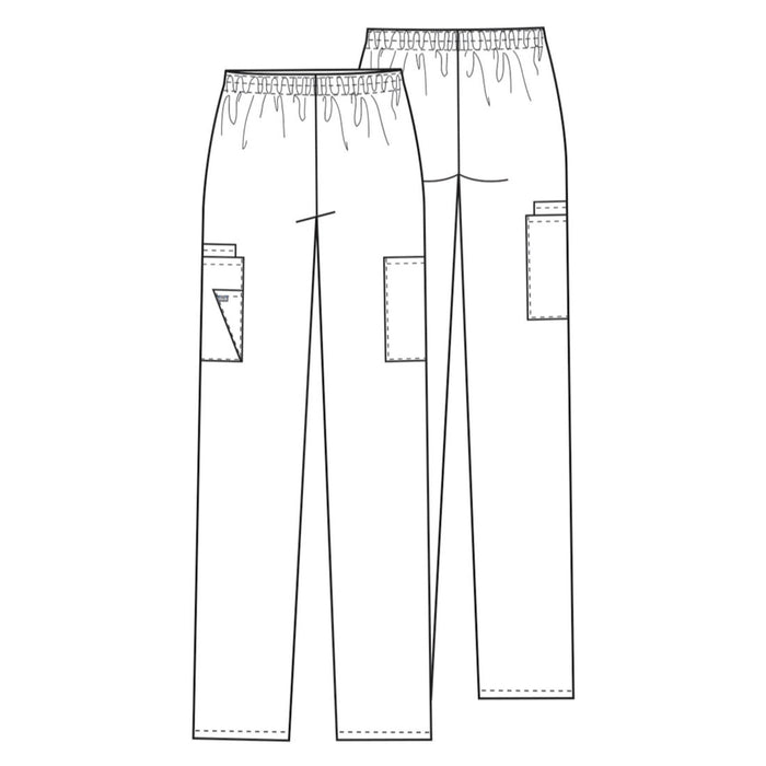 Cherokee Workwear 4200 Scrubs Pants Women's Natural Rise Tapered Pull-On Cargo White 3XL