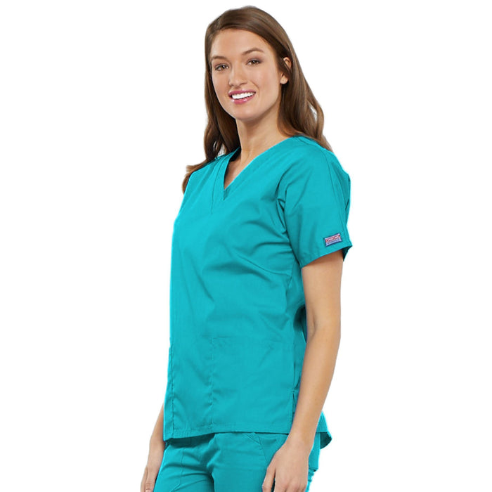 Cherokee Workwear 4700 Scrubs Top Women's V-Neck Turquoise 4XL