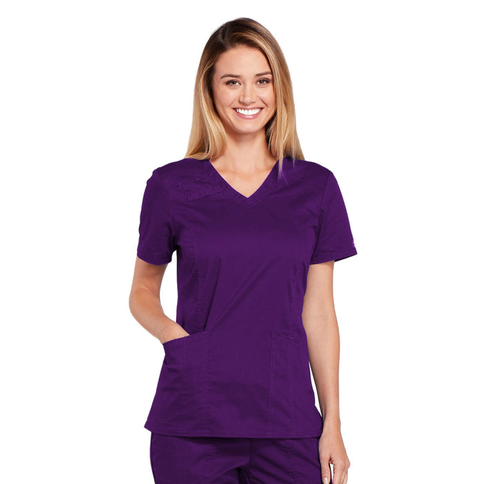Cherokee Core Stretch 4710 Scrubs Top Women's V-Neck Eggplant