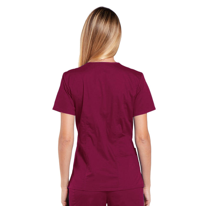 Cherokee Core Stretch 4710 Scrubs Top Women's V-Neck Wine 3XL