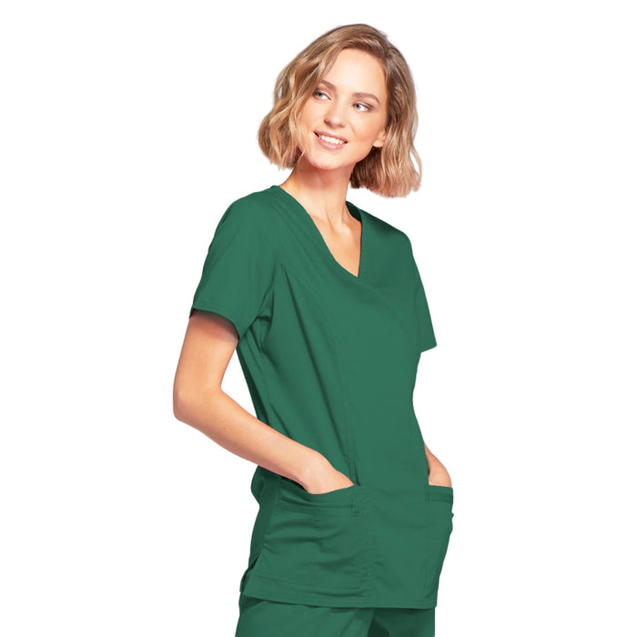 Cherokee Core Stretch 4728 Scrubs Top Women's Mock Wrap Hunter Green 4XL