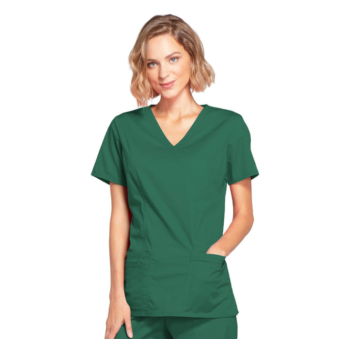 Cherokee Core Stretch 4728 Scrubs Top Women's Mock Wrap Hunter Green