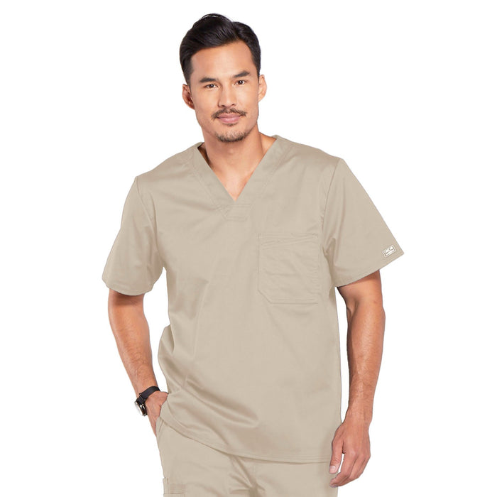 Cherokee Core Stretch 4743 Scrubs Top Men's V-Neck Khaki