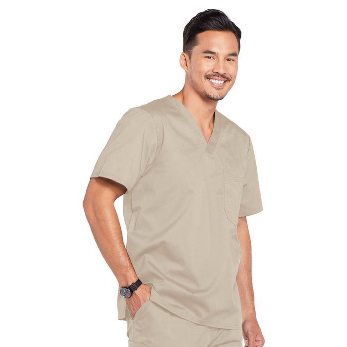 Cherokee Core Stretch 4743 Scrubs Top Men's V-Neck Khaki 4XL