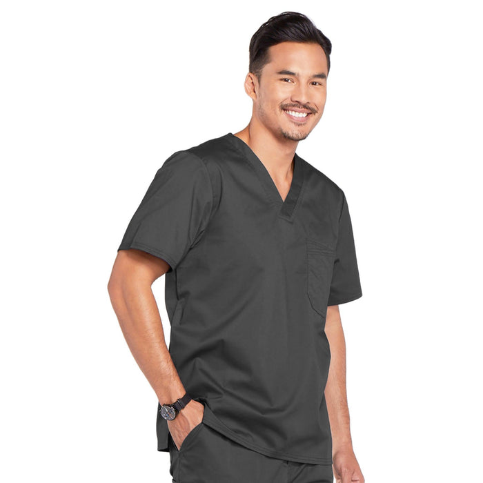 Cherokee Core Stretch 4743 Scrubs Top Men's V-Neck Pewter 4XL