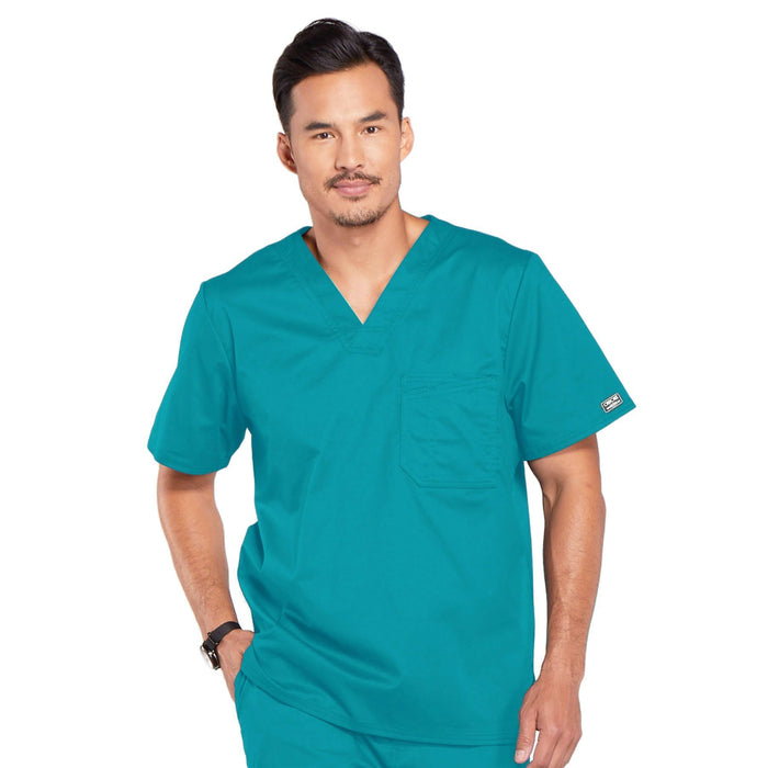 Cherokee Core Stretch 4743 Scrubs Top Men's V-Neck Teal Blue