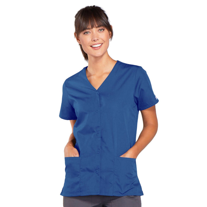 Cherokee Workwear 4770 Scrubs Top Women's Snap Front V-Neck Galaxy Blue