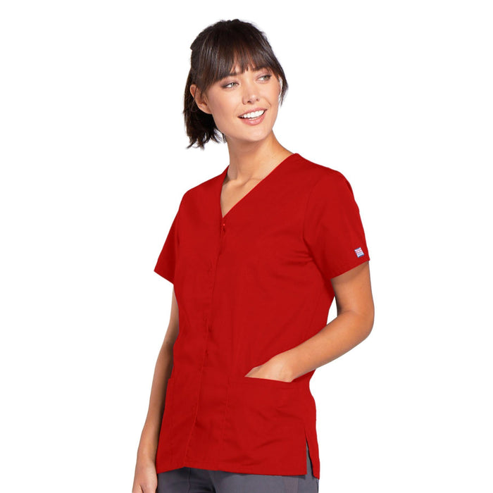 Cherokee Workwear 4770 Scrubs Top Women's Snap Front V-Neck Red 3XL