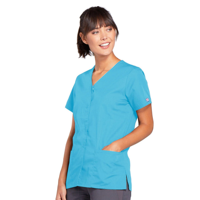 Cherokee Workwear 4770 Scrubs Top Women's Snap Front V-Neck Turquoise 3XL