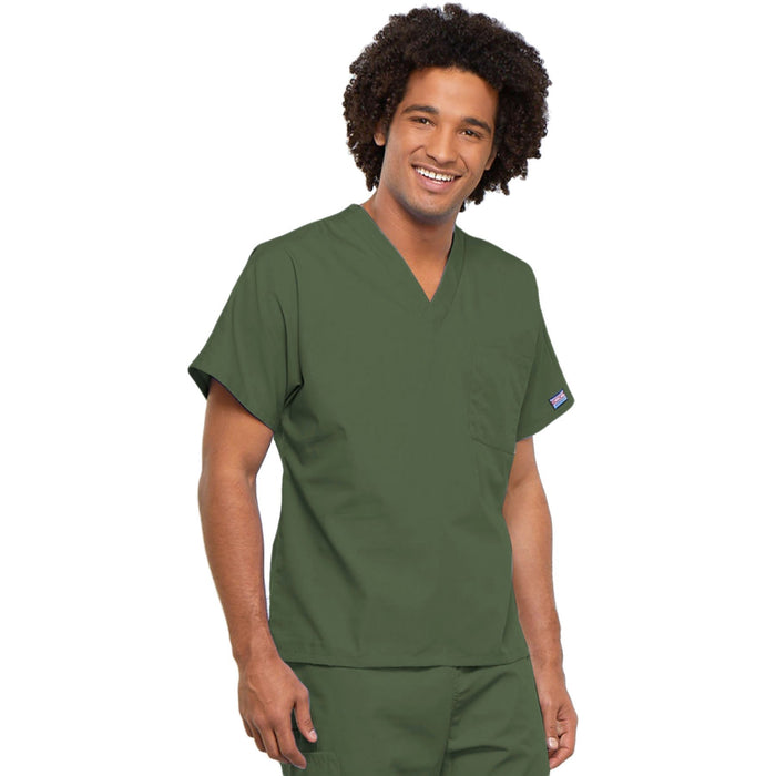 Cherokee Workwear 4777 Scrubs Top Unisex V-Neck Tunic. Olive 4XL