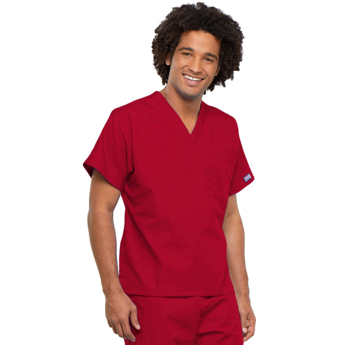 Cherokee Workwear 4777 Scrubs Top Unisex V-Neck Tunic. Red 4XL