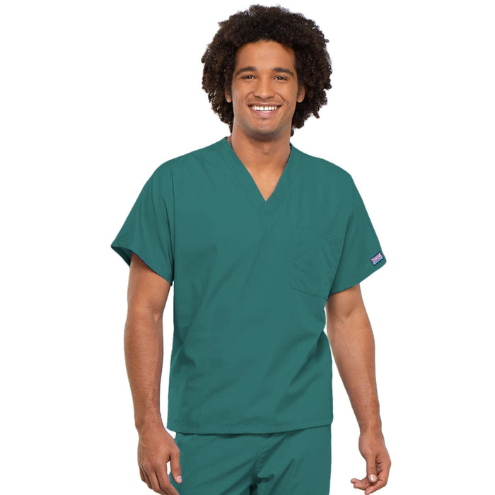Cherokee Workwear 4777 Scrubs Top Unisex V-Neck Tunic. Teal Blue