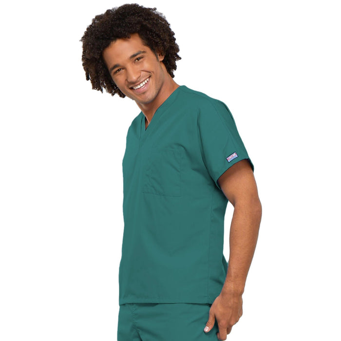 Cherokee Workwear 4777 Scrubs Top Unisex V-Neck Tunic. Teal Blue 3XL
