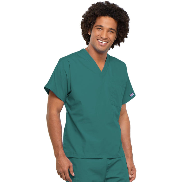 Cherokee Workwear 4777 Scrubs Top Unisex V-Neck Tunic. Teal Blue 4XL