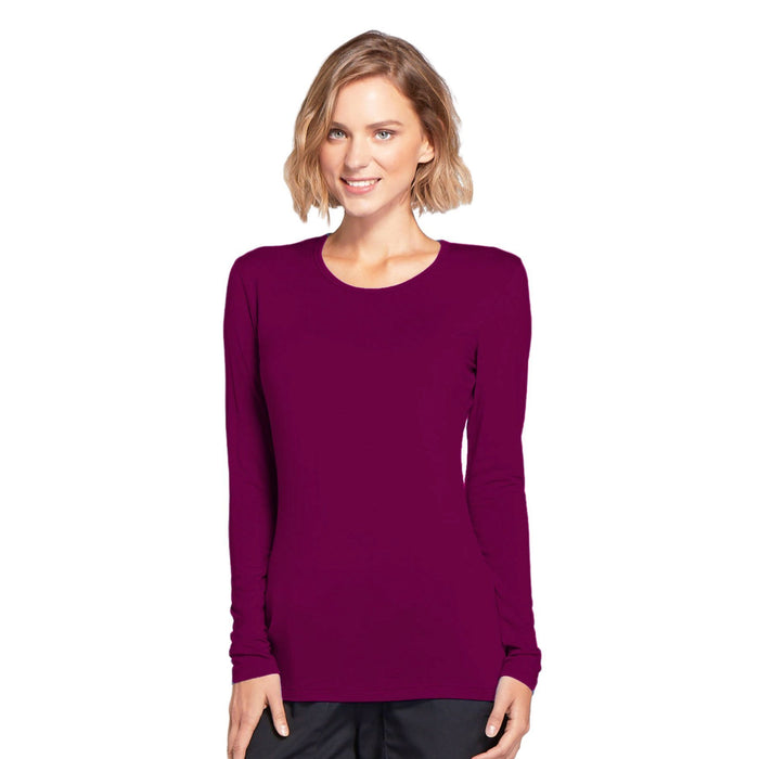 Cherokee Workwear 4881 Underscrubs Women's Long Sleeve Knit Tee Wine