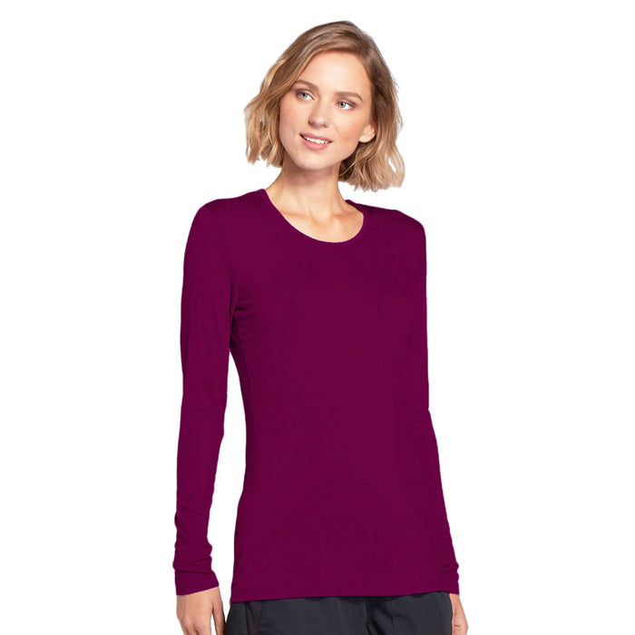 Cherokee Workwear 4881 Underscrubs Women's Long Sleeve Knit Tee Wine M
