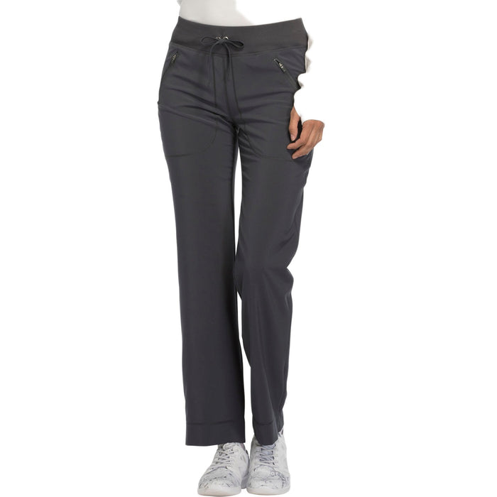 Cherokee Infinity CK100A Scrubs Pants Women's Mid Rise Tapered Leg Drawstring s Pewter