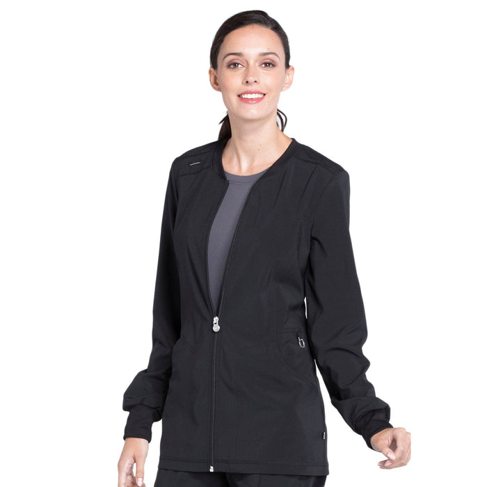 Cherokee Infinity CK370A Scrubs Jacket Women's Zip Front Warm-Up Black 4XL